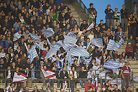 20121020 Copyright onEdition 2012©.Free for editorial use image, please credit: onEdition..Racing Metro 92 fans during the Heineken Cup Round 2 match between Saracens and Racing Metro 92 at the King Baudouin Stadium, Brussels on Saturday 20th October 2012 (Photo by Rob Munro)..For press contacts contact: Sam Feasey at brandRapport on M: +44 (0)7717 757114 E: SFeasey@brand-rapport.com..If you require a higher resolution image or you have any other onEdition photographic enquiries, please contact onEdition on 0845 900 2 900 or email info@onEdition.com.This image is copyright the onEdition 2012©..This image has been supplied by onEdition and must be credited onEdition. The author is asserting his full Moral rights in relation to the publication of this image. Rights for onward transmission of any image or file is not granted or implied. Changing or deleting Copyright information is illegal as specified in the Copyright, Design and Patents Act 1988. If you are in any way unsure of your right to publish this image please contact onEdition on 0845 900 2 900 or email info@onEdition.com