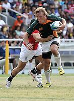 CALI - COLOMBIA - 01-08-2013: Partido de Rugby 7 entre los equipos de Surafrica y Honk Kong en los IX Juegos Mundiales Cali, agosto 1 de 2013. (Foto: VizzorImage / Luis Ramirez / Staff). Match of Rugby 7 between South Africa and Honk Kong in the IX World Games Cali, August 1 2013. (Photo: VizzorImage / Luis Ramirez / Staff).