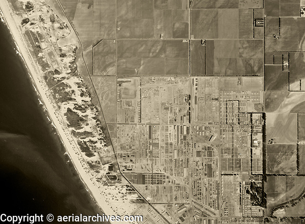 historical aerial photograph Oxnard, Ventura county, California, 1947