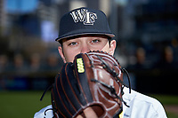 Ben Casstevens (20) of the Wake Forest Demon Deacons poses for a photo prior to the game against the Furman Paladins at BB&T BallPark on March 2, 2019 in Charlotte, North Carolina. The Demon Deacons defeated the Paladins 13-7. (Brian Westerholt/Four Seam Images)