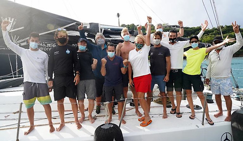 Celebrations on board Johannes Schwarz's Volvo 70 Green Dragon after winning the IMA Trophy and Monohull Line Honours in the RORC Transatlantic Race