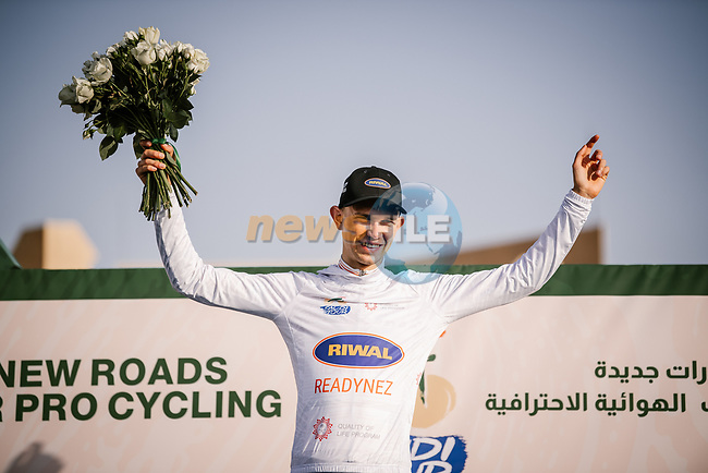 Andreas Lorentz Kron (DEN) Riwal Readynez Cycling Team wears the young riders White Jersey at the end of Stage 2 of the Saudi Tour 2020 running 187km from Sadus Castle to Al Bujairi, Saudi Arabia. 5th February 2020. <br /> Picture: ASO/Pauline Ballet | Cyclefile<br /> All photos usage must carry mandatory copyright credit (© Cyclefile | ASO/Pauline Ballet)