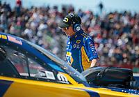 Apr 14, 2019; Baytown, TX, USA; Rahn Tobler, crew chief for NHRA funny car driver Ron Capps during the Springnationals at Houston Raceway Park. Mandatory Credit: Mark J. Rebilas-USA TODAY Sports