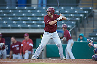 Luke Zimmerman (15) of the Saint Joseph's Hawks at bat against the Western Carolina Catamounts at TicketReturn.com Field at Pelicans Ballpark on February 23, 2020 in Myrtle Beach, South Carolina. The Hawks defeated the Catamounts 9-2. (Brian Westerholt/Four Seam Images)