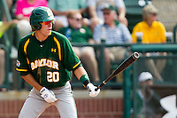 Baylor Bears shortstop Jake Miller #20 at bat during the NCAA Regional baseball game against Oral Roberts University on June 3, 2012 at Baylor Ball Park in Waco, Texas. Baylor defeated Oral Roberts 5-2. (Andrew Woolley/Four Seam Images)