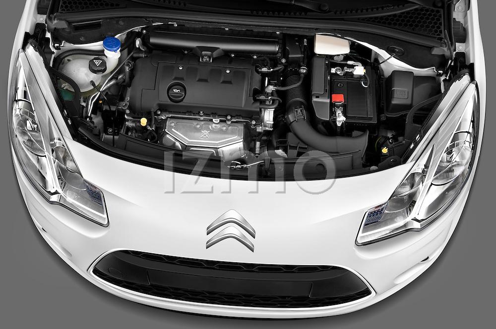 High angle engine detail of a 2010 Citroen C3 Exclusive 5 Door Hatchback .