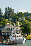 Boat at Hood River Marina and Mt. Hood, Oregon