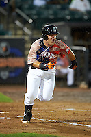 Aberdeen Ironbirds outfielder D.J. Stewart (10) runs to first during a game against the Tri-City ValleyCats on August 6, 2015 at Ripken Stadium in Aberdeen, Maryland.  Tri-City defeated Aberdeen 5-0 in a combined no-hitter.  (Mike Janes/Four Seam Images)