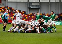 6th February 2021; Brentford Community Stadium, London, England; Gallagher Premiership Rugby, London Irish versus Gloucester; London Irish and Gloucester players in the scrum