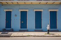 French Quarter, New Orleans, Louisiana.  Shotgun-Style House.  Duplex, Two Doors, Two Windows.
