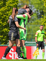 Goalkeeper Louise Van Den Bergh (1) of OHL congratulates Lenie Onzia (8) of OHL for her goal during a female soccer game between Standard Femina de Liege and Oud Heverlee Leuven on the 10th and last matchday in play off 1 of the 2020 - 2021 season of Belgian Scooore Womens Super League , saturday 29 th of May 2021  in Angleur , Belgium . PHOTO SPORTPIX.BE   SPP   SEVIL OKTEM