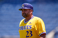 East Carolina Pirates coach Cliff Godwin (23) during a game against the Memphis Tigers on May 25, 2021 at BayCare Ballpark in Clearwater, Florida.  (Mike Janes/Four Seam Images)