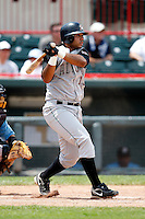 June 25, 2009:  Third Baseman Pedro Alvarez (13) of the Altoona Curve hits a double in the right center gap during a game at Jerry Uht Park in Erie, PA.  The Altoona Curve are the Eastern League Double-A affiliate of the Pittsburgh Pirates.  Photo by:  Mike Janes/Four Seam Images