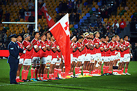 Tonga sings the national anthem before the Steinlager Series rugby match between the New Zealand All Blacks and Tonga at Mt Smart Stadium in Auckland, New Zealand on Saturday, 3 July 2021. Photo: Dave Lintott / lintottphoto.co.nz