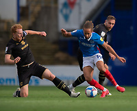 Portsmouth's Marcus Harness (right) is tackled by \Milton Keynes Dons' Dean Lewington (left) <br /> <br /> Photographer David Horton/CameraSport<br /> <br /> The EFL Sky Bet League One - Portsmouth v Milton Keynes Dons - Saturday 10th October 2020 - Fratton Park - Portsmouth<br /> <br /> World Copyright © 2020 CameraSport. All rights reserved. 43 Linden Ave. Countesthorpe. Leicester. England. LE8 5PG - Tel: +44 (0) 116 277 4147 - admin@camerasport.com - www.camerasport.com