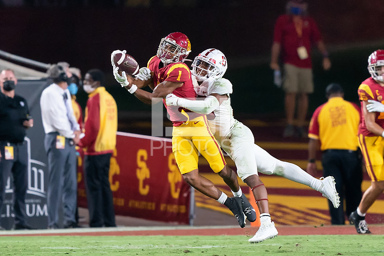 LOS ANGELES, CA - SEPTEMBER 11: Jimmy Wyrick during a game between University of Southern California and Stanford Football at Los Angeles Memorial Coliseum on September 11, 2021 in Los Angeles, California.