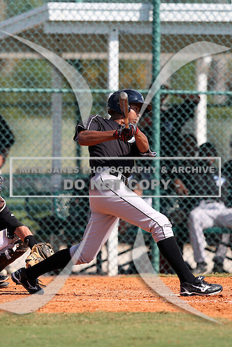 Toronto Blue Jays minor league outfielder Dalton Pompey (18) vs. the Pittsburgh Pirates during an Instructional League game at Pirate City in Bradenton, Florida;  October 11, 2010.  Photo By Mike Janes/Four Seam Images