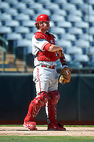 Peoria Javelinas catcher Tommy Joseph #13, of the Philadelphia Phillies organization, during an Arizona Fall League game against the Phoenix Desert Dogs at Phoenix Municipal Stadium on October 12, 2012 in Phoenix, Arizona.  Phoenix defeated Peoria 13-3.  (Mike Janes/Four Seam Images)
