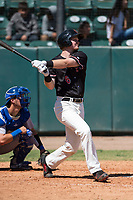 Visalia Rawhide first baseman Pavin Smith (6) follows through on his swing during a California League game against the Stockton Ports at Visalia Recreation Ballpark on May 9, 2018 in Visalia, California. Stockton defeated Visalia 4-2. (Zachary Lucy/Four Seam Images)