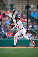 Rochester Red Wings Zander Wiel (12) bats during an International League game against the Charlotte Knights on June 16, 2019 at Frontier Field in Rochester, New York.  Rochester defeated Charlotte 3-2 in the second game of a doubleheader.  (Mike Janes/Four Seam Images)