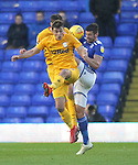 Preston North End's Ryan Ledson in action with Birmingham City's Lukas Jutkiewicz in action with Preston North End's Ryan Ledson<br /> <br /> Photographer Mick Walker/CameraSport<br /> <br /> The EFL Sky Bet Championship - Birmingham City v Preston North End - Saturday 1st December 2018 - St Andrew's - Birmingham<br /> <br /> World Copyright © 2018 CameraSport. All rights reserved. 43 Linden Ave. Countesthorpe. Leicester. England. LE8 5PG - Tel: +44 (0) 116 277 4147 - admin@camerasport.com - www.camerasport.com
