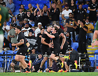 2nd October 2021, Cbus Super Stadium, Gold Coast, Queensland, Australia;   Brad Weber celebrates his try.<br /> New Zealand All Blacks versus South Africa Springboks.The Rugby Championship. Rugby Union test match.