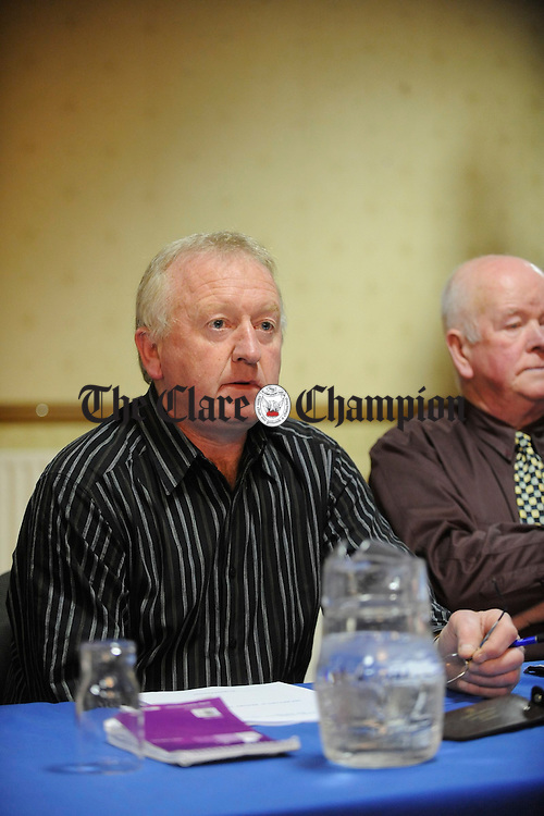 Johnny Hayes, chairman at the Clare Ladies Football AGM in the West County hotel. Photograph by John Kelly.