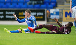 St Johnstone v Hearts…10.08.16..  McDiarmid Park…BetFred Cup<br />David Wotherspoon is fouled by Arnaud Djoum<br />Picture by Graeme Hart.<br />Copyright Perthshire Picture Agency<br />Tel: 01738 623350  Mobile: 07990 594431