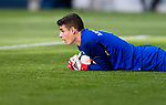Goalkeeper Kepa Arrizabalaga Revuelta of Athletic Club de Bilbao reaches for the ball after an attempt at goal by Athletic de Bilbao during the La Liga 2017-18 match between Atletico de Madrid and Athletic de Bilbao at Wanda Metropolitano  on February 18 2018 in Madrid, Spain. Photo by Diego Souto / Power Sport Images