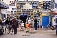 Essaouira, Morocco - Street Scene, Souvenir Shop, Pottery and Ceramics.