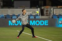 SAN JOSE, CA - SEPTEMBER 19: Aljaz Ivacic #31 of the Portland Timbers warms up during a game between Portland Timbers and San Jose Earthquakes at Earthquakes Stadium on September 19, 2020 in San Jose, California.