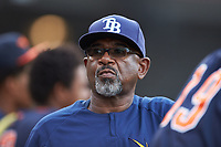 Tampa Bay Rays Outfield/Baserunning Coordinator Skeeter Barnes takes in the Bowling Green Hot Rods game against the Dayton Dragons at Fifth Third Field on June 9, 2018 in Dayton, Ohio. The Hot Rods defeated the Dragons 1-0.  (Brian Westerholt/Four Seam Images)