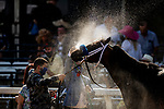 May 15, 2021 : Firecrow, #11, ridden by Joel Rosario, wins the Jim McKay Turf Sprint on Preakness Stakes Day at Pimlico Race Track in Baltimore, Maryland on May 15, 2021. Alex Evers/Eclipse Sportswire/CSM