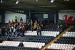 St Mirren 4 The New Saints 1, 19/02/2017. Paisley 2021 Stadium, Scottish Challenge Cup. Visiting fans watching the action during the first-half at the Paisley2021 Stadium as Scottish Championship side St Mirren (in white) played Welsh champions The New Saints in the semi-final of the Scottish Challenge Cup for the right to meet Dundee United in the final. The competition was expanded for the 2016-17 season to include four clubs from Wales and Northern Ireland as well as Scottish Premier under-20 teams. Despite trailing at half-time, St Mirren won the match 4-1 watched by a crowd of 2044, including 75 away fans. Photo by Colin McPherson.