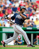 5 July 2009: Atlanta Braves' left fielder Garret Anderson in action against the Washington Nationals at Nationals Park in Washington, DC. The Nationals defeated the Braves 5-3, to take the rubber game of their 3-game weekend series. Mandatory Credit: Ed Wolfstein Photo
