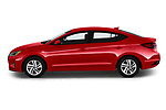 Car Driver side profile view of a 2020 Hyundai Elantra SEL 4 Door Sedan Side View