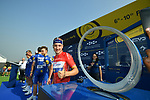 Red Jersey holder Elia Viviani (ITA) Quick-Step Floors with an eye on the winners trophy at sign on before the start of Stage 3 The Silicon Oasis Stage of the Dubai Tour 2018 the Dubai Tour's 5th edition, running 180km from Skydive Dubai to Fujairah, Dubai, United Arab Emirates. 7th February 2018.<br /> Picture: LaPresse/Massimo Paolone   Cyclefile<br /> <br /> <br /> All photos usage must carry mandatory copyright credit (© Cyclefile   LaPresse/Massimo Paolone)