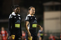 Henriette Awete (19) of Eendracht Aalst and Valentine Hannecart (8) of Eendracht Aalst pictured during a female soccer game between FC Femina White Star Woluwe and Eendracht Aalst on the sixth matchday in the 2021 - 2022 season of Belgian Scooore Womens Super League , friday 8 th of october 2021  in Woluwe , Belgium . PHOTO SPORTPIX | KRISTOF DE MOOR