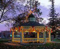 Gazbo in Paso Robles City Park decorated for Christmas. Paso Robles, California
