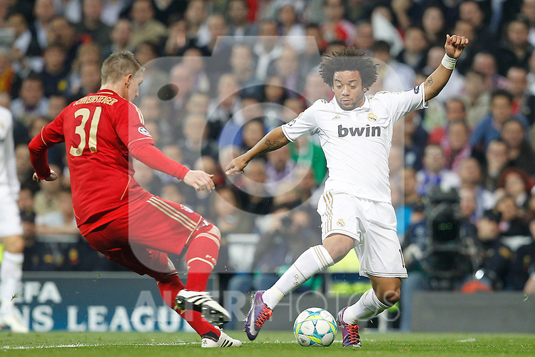 Real Madrid's Marcelo and Bayern Munich's Bastian Scweinsteiger during Champions League match on april 25th 2012...Photo: Cesar Cebolla / ALFAQUI
