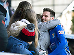 St Johnstone v St Mirren…27.10.18…   McDiarmid Park    SPFL<br />Scott Tanser gets a hug from his mum at full time<br />Picture by Graeme Hart. <br />Copyright Perthshire Picture Agency<br />Tel: 01738 623350  Mobile: 07990 594431