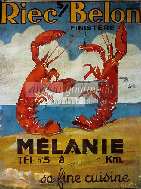 """Europe/France/Bretagne/29/Finistère/Riec-sur-Belon : Ancienne publicité du restaurant """"Chez Mélanie"""" 1936"""