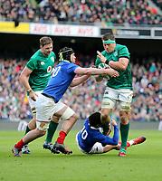 Sunday10th March 2019 | Ireland vs France<br /> <br /> CJ Stander is tackled by Romain Ntamack during the Guinness 6 Nations clash between Ireland and France at the Aviva Stadium, Lansdowne Road, Dublin, Ireland. Photo by John Dickson / DICKSONDIGITAL