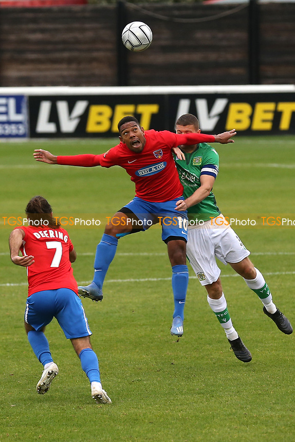 Angelo Balanta of Dagenham and Redbridge and Carl Dickinson of Yeovil Town during Dagenham & Redbridge vs Yeovil Town, Vanarama National League Football at the Chigwell Construction Stadium on 17th October 2020
