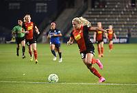 Kansas City, Kansas - Saturday April 16, 2016: Western New York Flash forward Adriana Leon (19) kicks the ball against FC Kansas City at Children's Mercy Park. Western New York won 1-0.
