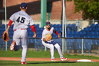 Reading Fightin Phils first baseman Christian Marrero (21) waits for a throw from John Richy (45) during a game against the Portland Sea Dogs on May 31, 2016 at Hadlock Field in Portland, Maine.  Reading defeated Portland 6-4.  (Mike Janes/Four Seam Images)
