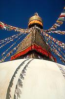 Stupa, Kathmandu, Nepal. Religions. Religious building. Architectural detail. traditional architecture, Buddhism. Kathmandu, Nepal Asia.