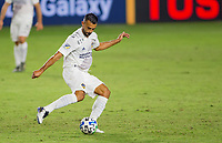 CARSON, CA - OCTOBER 18: Giancarlo Gonzalez #21 of the Los Angeles Galaxy sends a ball upfield during a game between Vancouver Whitecaps and Los Angeles Galaxy at Dignity Heath Sports Park on October 18, 2020 in Carson, California.