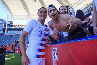 CARSON, CA - FEBRUARY 1: Aaron Long #3 of the United States celebrating with fans during a game between Costa Rica and USMNT at Dignity Health Sports Park on February 1, 2020 in Carson, California.