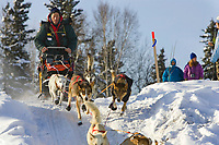 Jacques Philips team mushes out of McGrath Chkpt onto Kuskokwim River 2006 Iditarod Interior AK Winter
